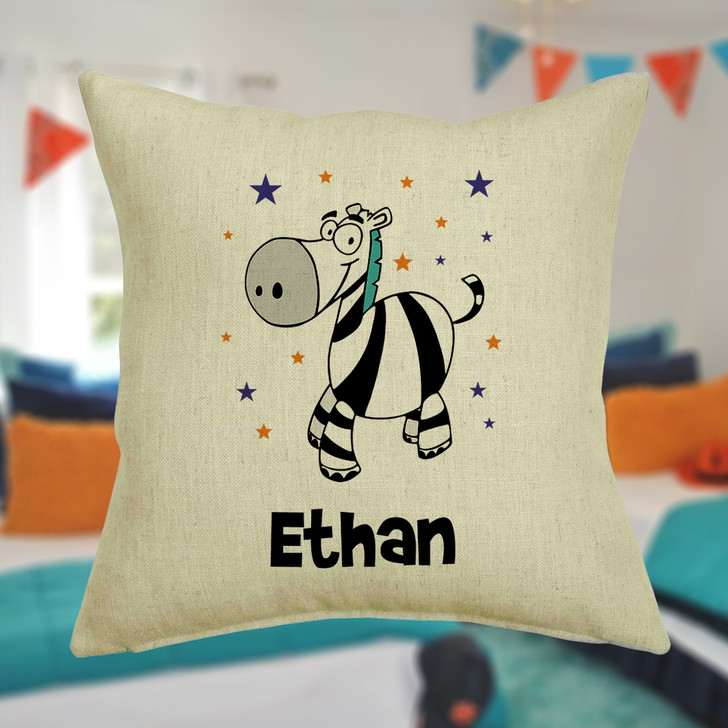 Personalised Zebra Cushion Cover With Any Name Printed