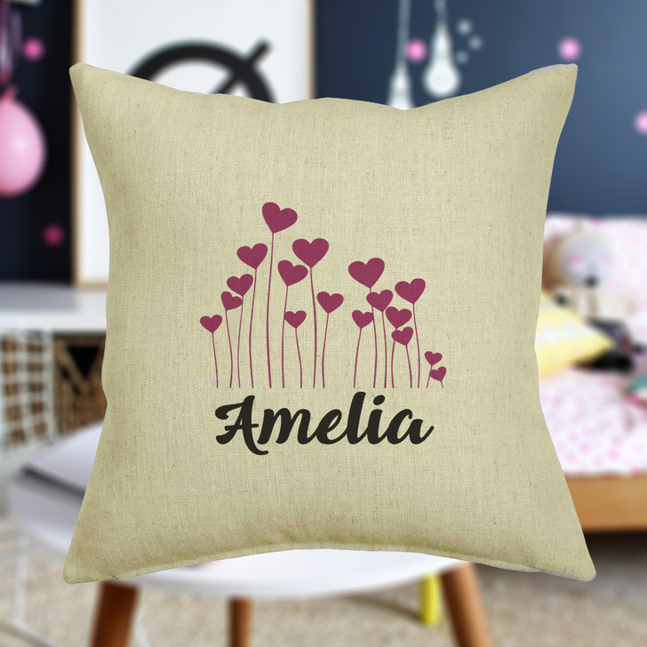 Personalised Heart Flowers Cushion Cover With Any Name Printed