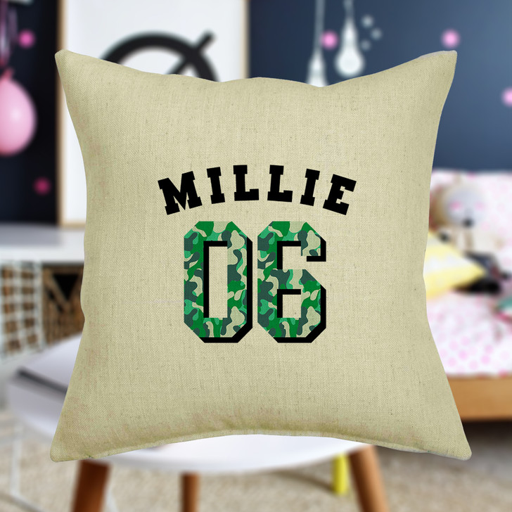 Personalised Camouflage College Style Cushion Cover - Name and Number