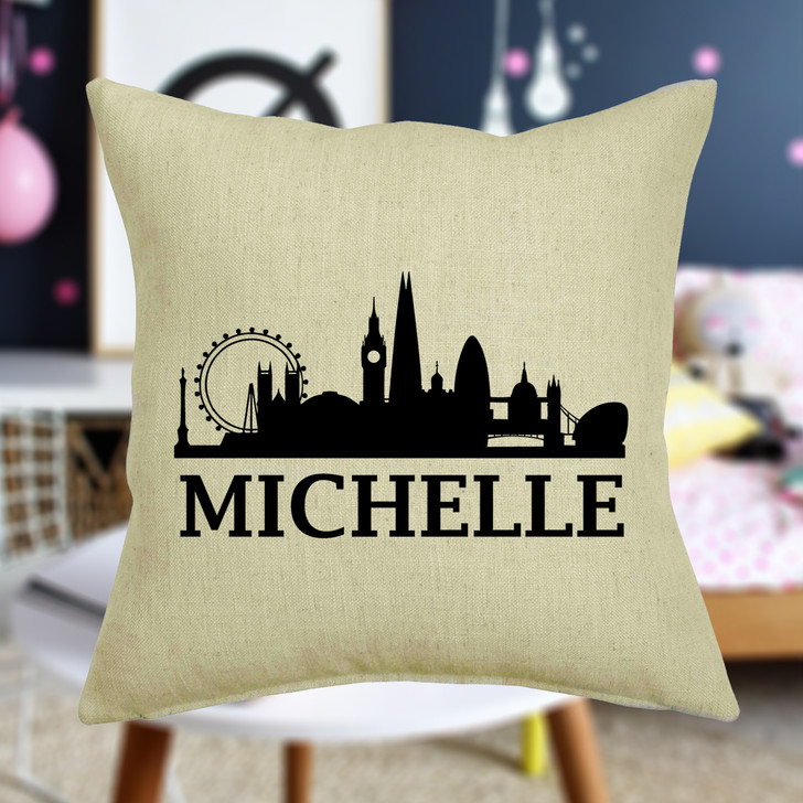 Personalised London Skyline Cushion Cover With Any Name Printed