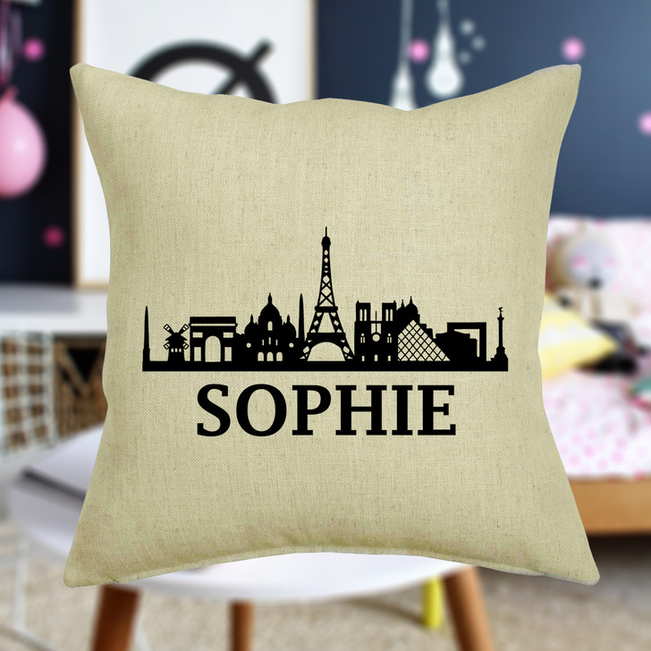 Personalised Paris Skyline Cushion Cover With Any Name Printed