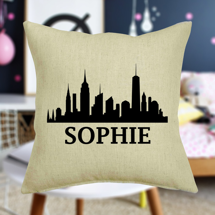 Personalised New York Skyline Cushion Cover With Any Name Printed