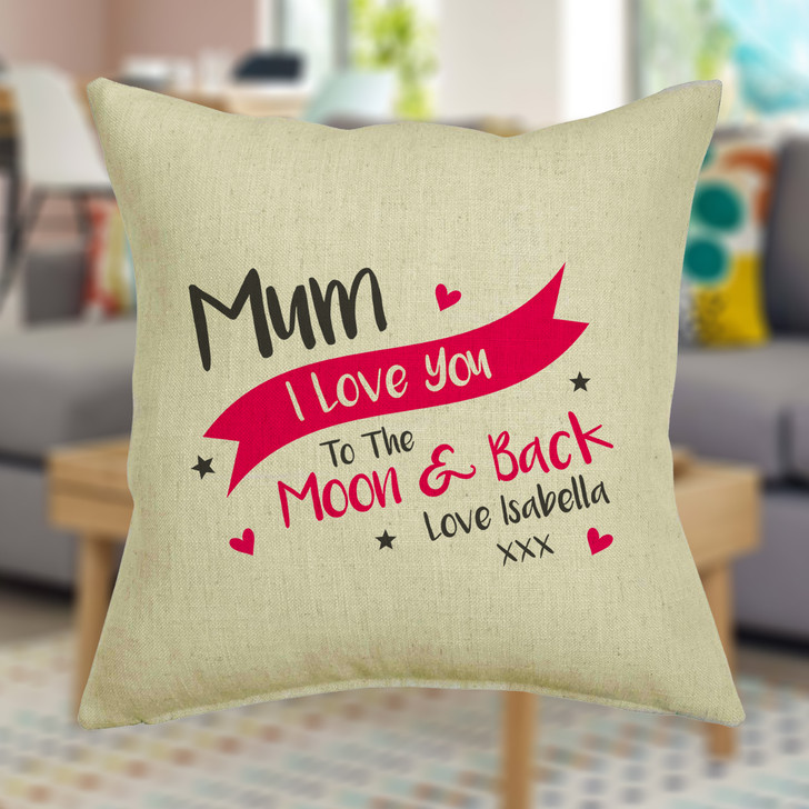 Personalised I Love You To The Moon And Back - Cushion Cover
