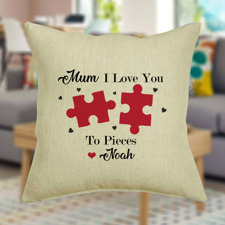 I Love You To Pieces - Cushion Cover Personalised With Any Name