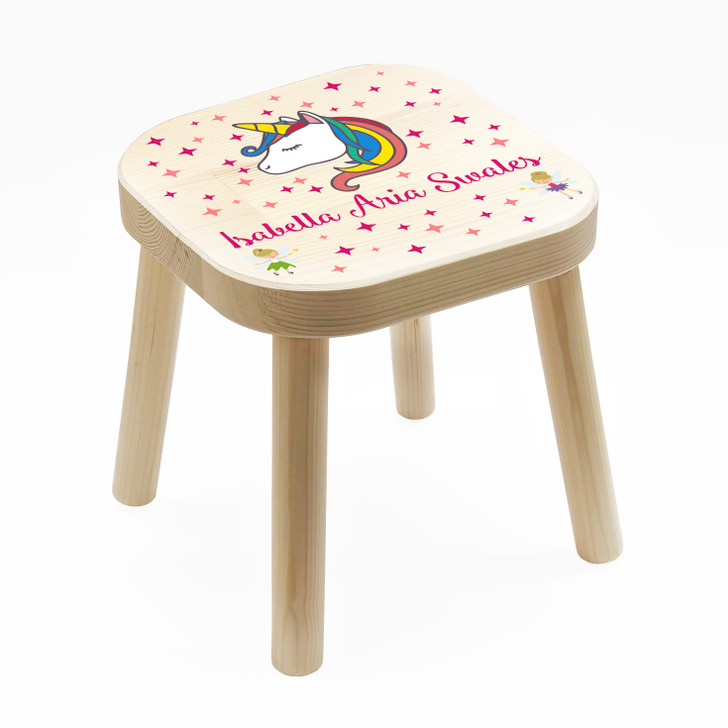 Personalised Children's Wooden Unicorn Stool, Birthday or Christmas Gift For Kids