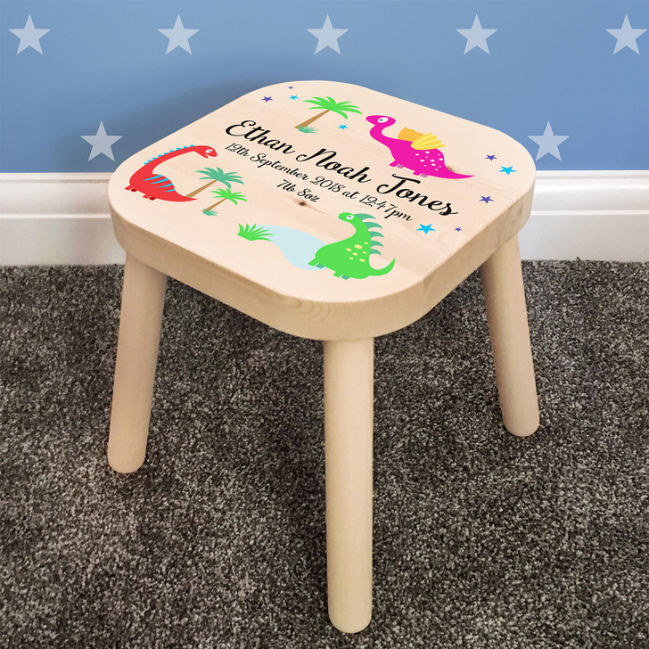 Personalised Children's Wooden Stool, Dinosaur Theme, Toddler Baby Gift