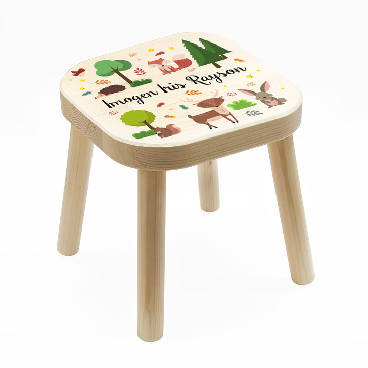 Personalised Children's Wooden Woodlands Animals Stool, Birthday or Christmas Gift For Kids