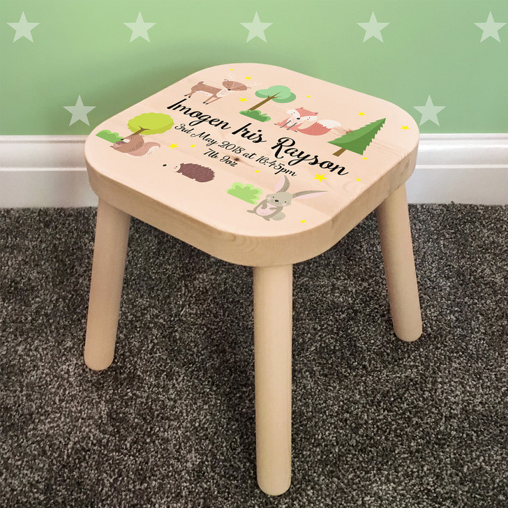Personalised Children's Wooden Stool, Woodland Animals Theme, Toddler Baby Gift