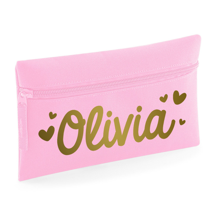 Personalised Vinyl Name Pencil Case With Love Hearts
