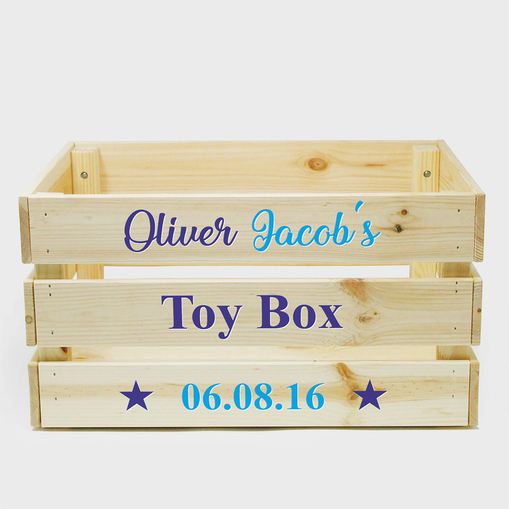 Personalised Kids Wooden Storage Toy Box Crate for Children Boy or Girl