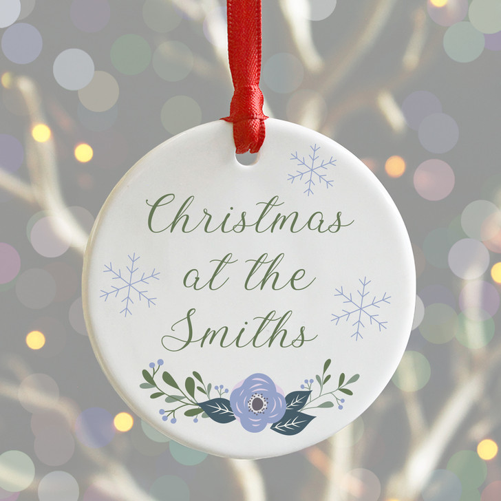 Personalised Christmas At The Surname's Bauble, Xmas Tree Decoration
