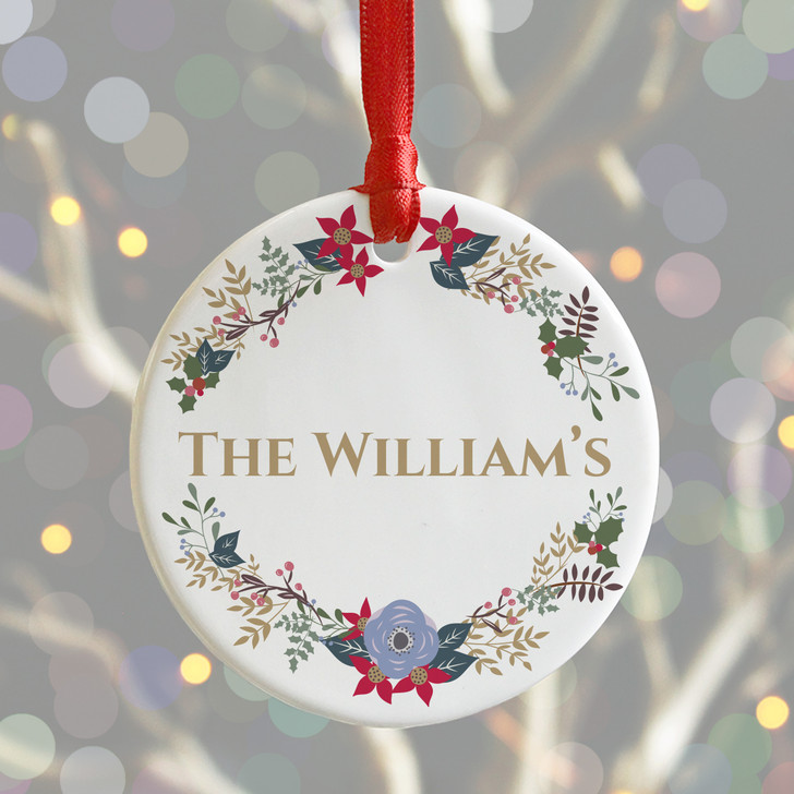 Personalised Family Surname Ceramic Christmas Wreath Bauble