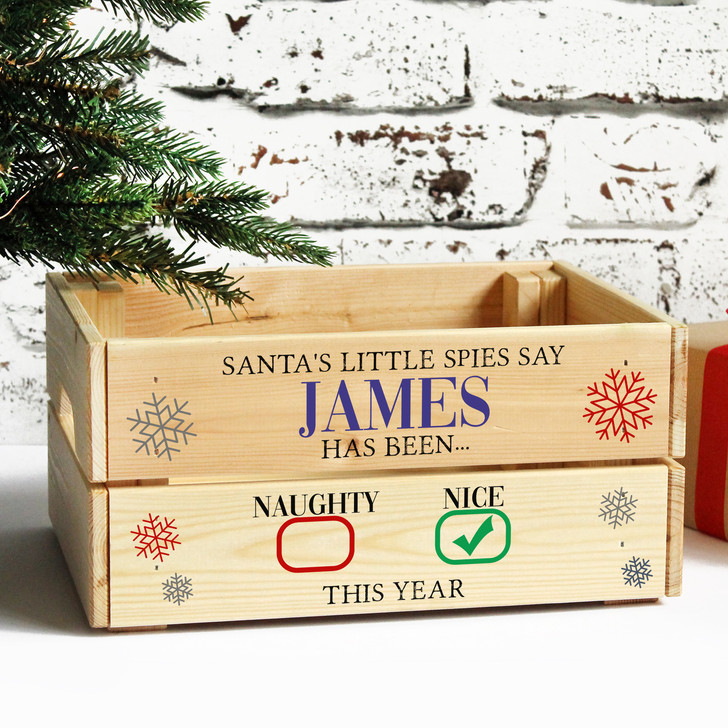 Personalised Christmas Eve Box, Naughty or Nice List Wooden Xmas Crate