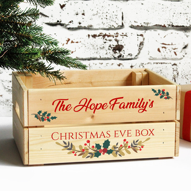 Personalised Family Christmas Eve Box, Wooden Xmas Crate Wreath Design