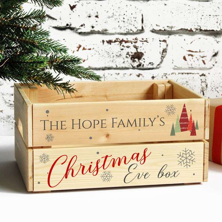 Personalised Kids Christmas Eve Solid Wooden Treat Box, Family Xmas Crate