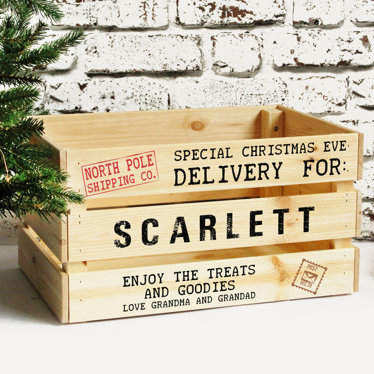 Personalised Large Christmas Eve Box, Solid Wooden Xmas Eve Crate