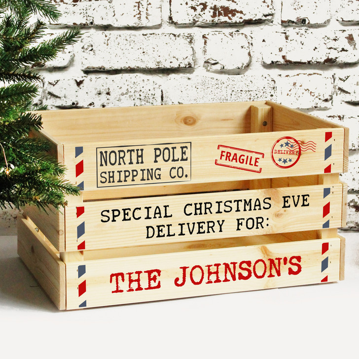 Personalised Family Christmas Eve Box, Solid Wooden Xmas Eve Crate
