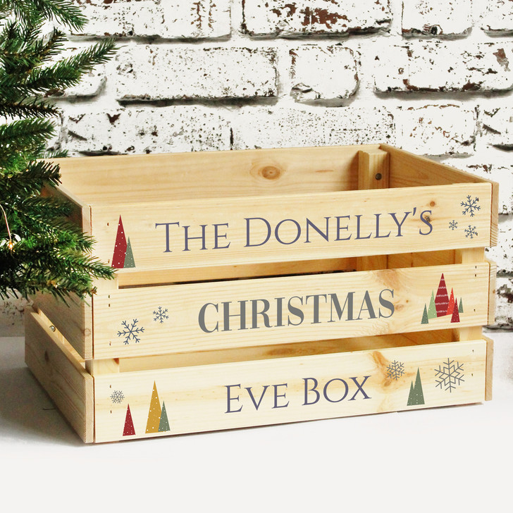 Personalised Large Christmas Eve Family Treat Box, Solid Wood Crate