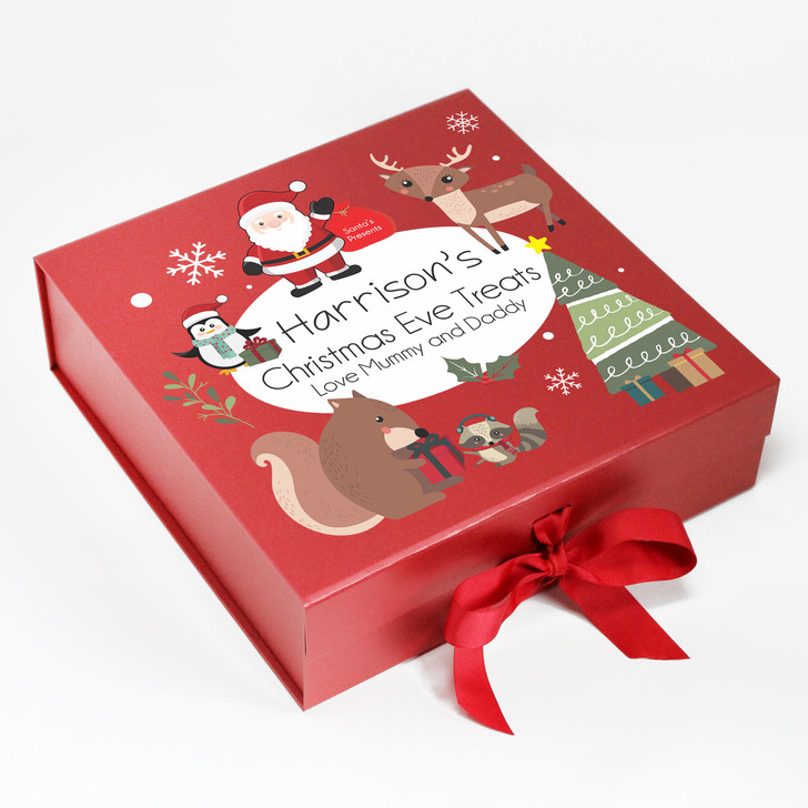 Personalised Christmas Eve Box, Santa, Reindeer and Penguin Characters, Xmas Eve Treat Gift Box