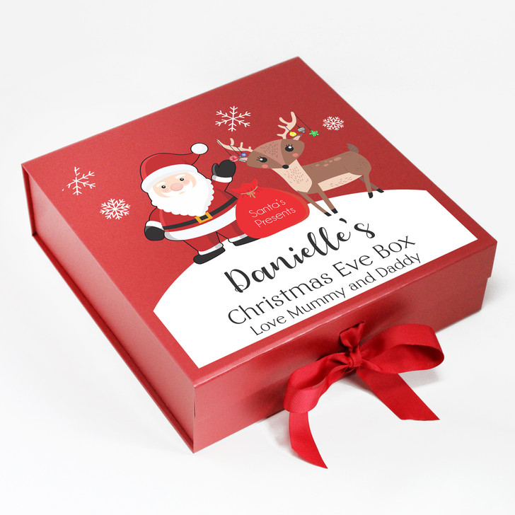 Personalised Christmas Eve Box, Santa and Reindeer, Xmas Eve Treats