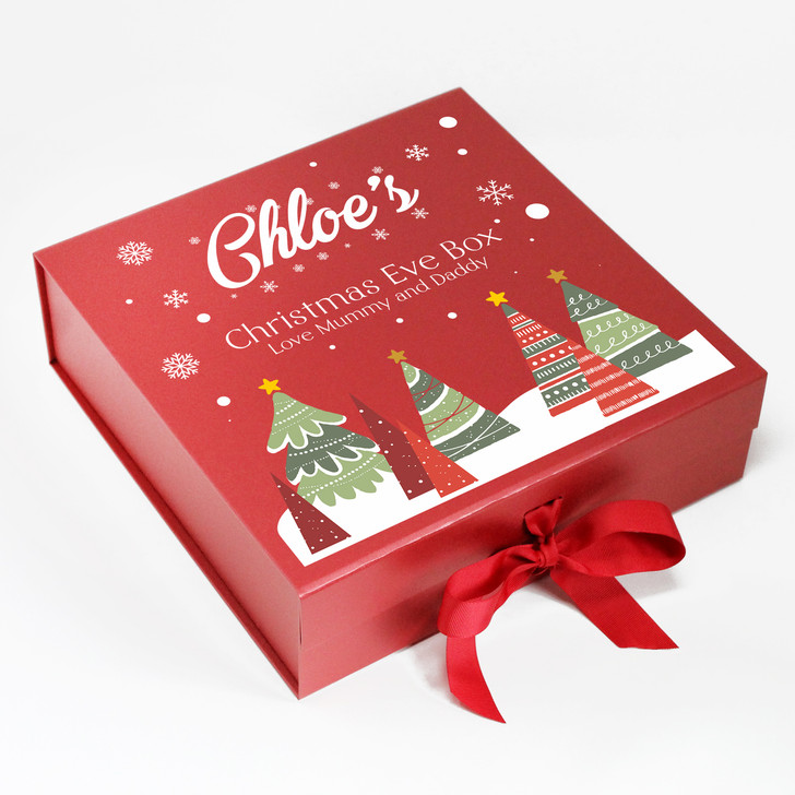 Personalised Christmas Eve Box, Trees & Snowflakes, Xmas Eve Treats