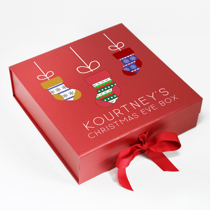 Personalised Stocking Design Christmas Eve Box, Xmas Eve Treats
