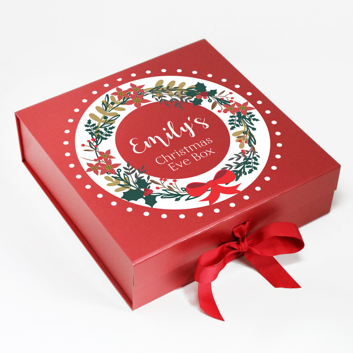 Personalised Wreath Design Christmas Eve Box, Xmas Eve Treats Gift Box