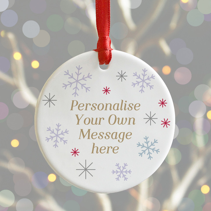 Personalise Your Own Message Ceramic Christmas Snowflake Bauble