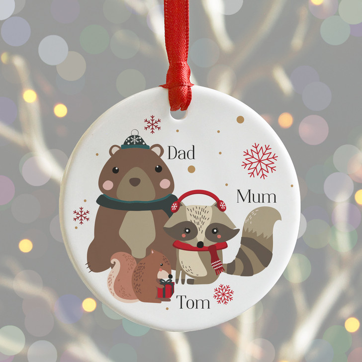 Personalised Woodland Animals Family Christmas, Ceramic Xmas Bauble