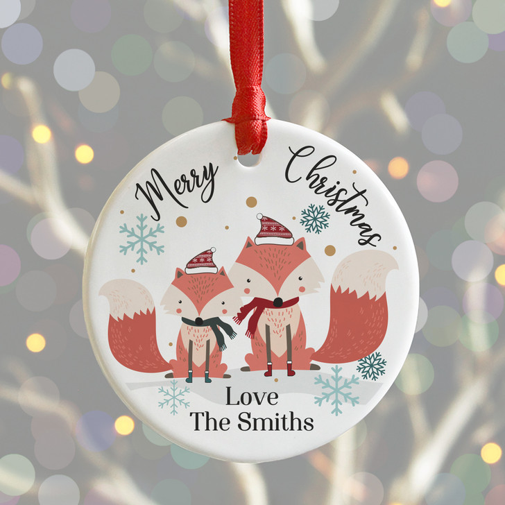 Personalised Woodland Foxes Merry Christmas Decoration, Xmas Bauble
