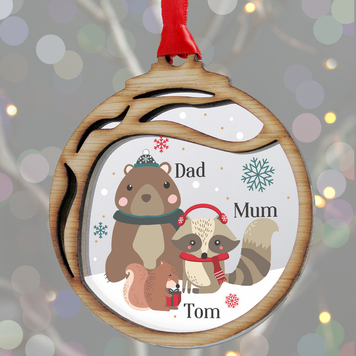 Personalised Woodland Animals Family Christmas, Wooden Xmas Bauble