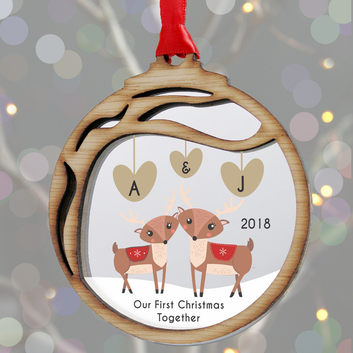 Personalised Couples Initials 1st Christmas Woodland Reindeer Bauble