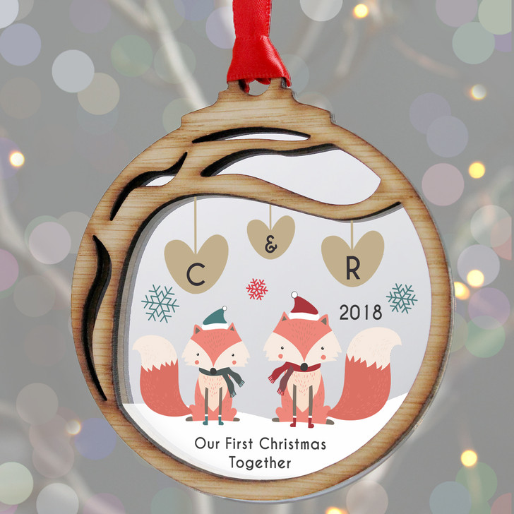 Personalised Couples Initials 1st Christmas Woodland Foxes Bauble Gift