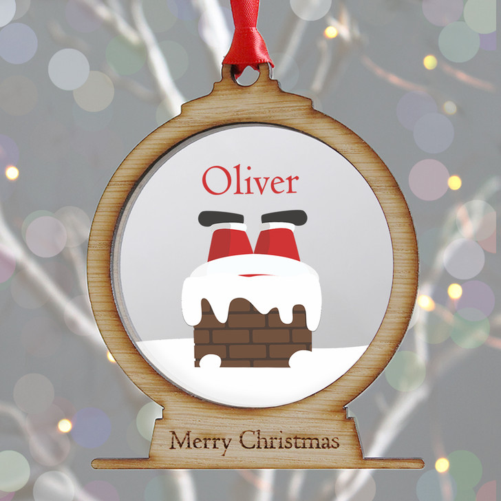 Personalised Santa Down Chimney Wooden Snow Globe Style Xmas Bauble