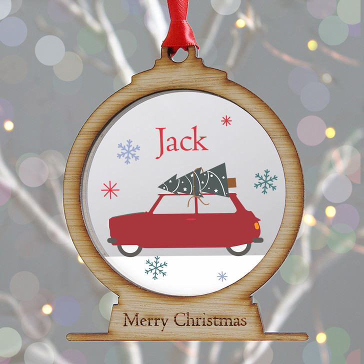 Personalised Christmas Car & Tree Wooden Snow Globe Style Xmas Bauble