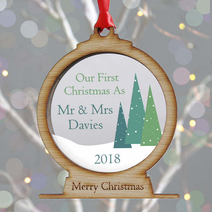 Personalised Mr & Mrs First Christmas Wooden Snow Globe Style Bauble