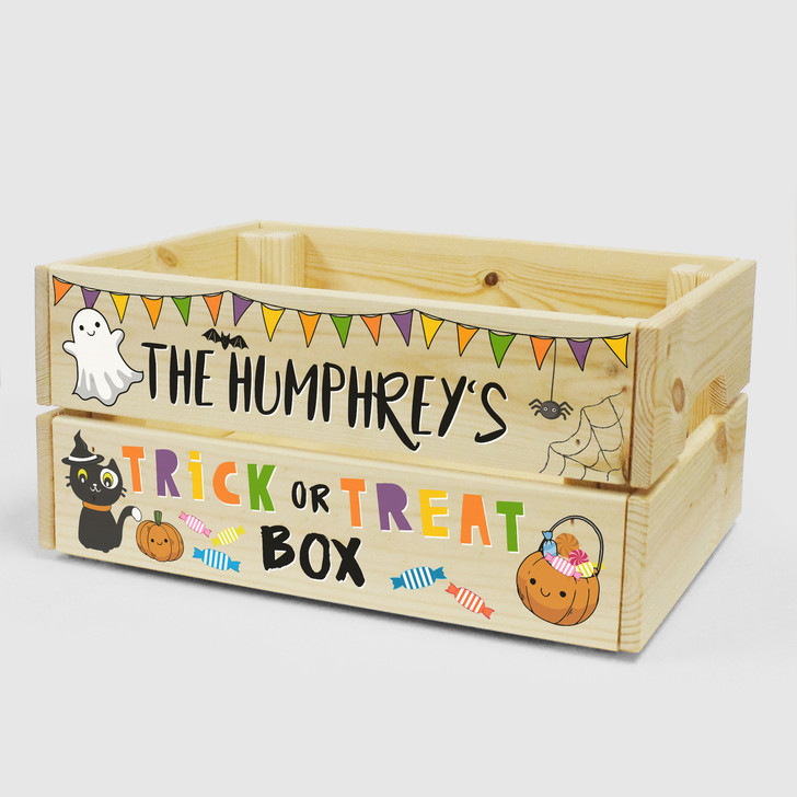 Personalised Halloween Crate - Trick Or Treat Box - Halloween Sweet Box For Kids, Trick Or Treaters, Hand Out Sweets Box, Halloween Decor