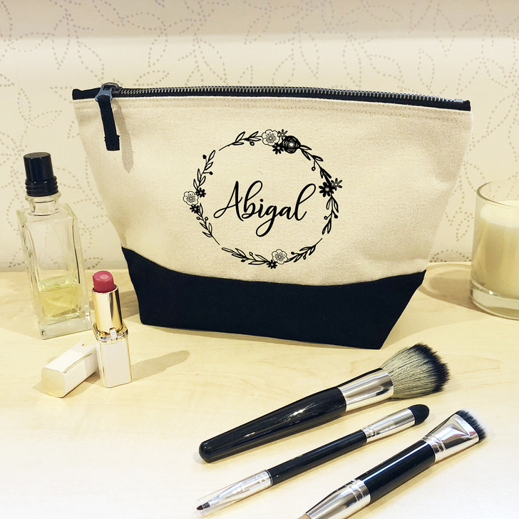 Personalised Black or Pink Make Up Bag with Flower Wreath Design - Make Up & Cosmetic Bag, Wash Bag Gift For HER, Birthday, Mother's Day Gift