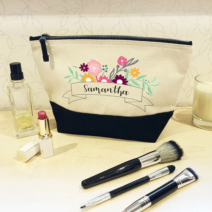 Personalised Black or Pink Make Up Bag with Flower Banner Design - Make Up & Cosmetic Bag, Wash Bag Gift For HER, Birthday, Mother's Day Gift
