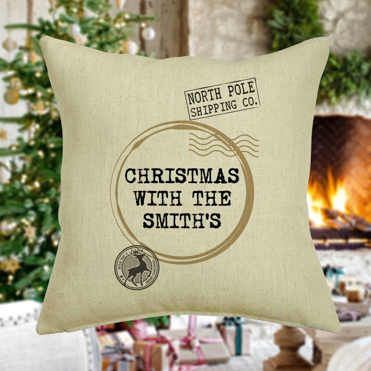 Personalised Christmas Family Cushion, Stamp Design Cushion Cover, Christmas With The Surname Family