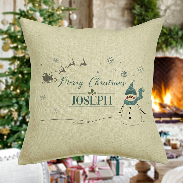 Personalised Christmas Cushion Cover, Snowman Design, Personalised Name Xmas Decorative Cushion