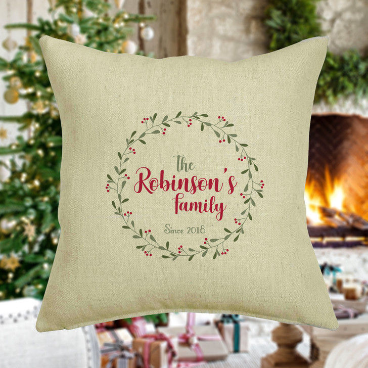 Personalised Christmas Family Cushion, Wreath Design Cushion Cover, The Surname Family Est. Since