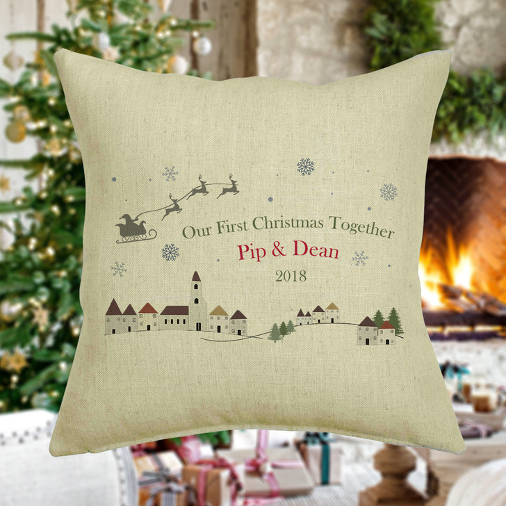 Personalised Couples First Christmas Cushion Cover, Winter Village Theme, Mr & Mrs, Couples, Boyfriend, Girlfriend, Xmas Cushion Cover Gift