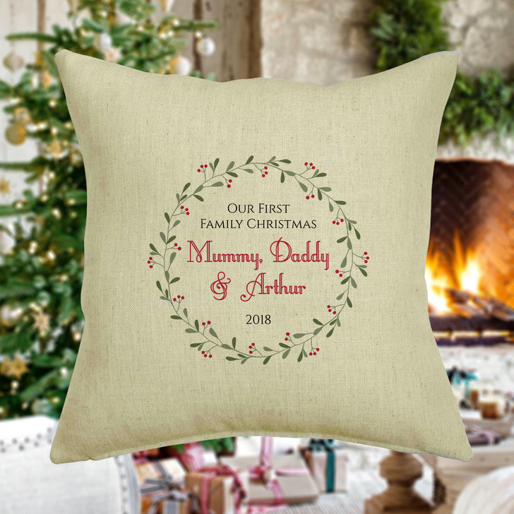 Personalised First Family Christmas Cushion Cover, Wreath Design, Mummy, Daddy and Baby, 1st Christmas