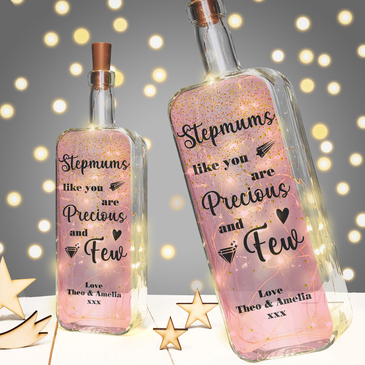 Stepmums Like You Are Precious & Few Personalised Light Up Bottle Birthday Gift
