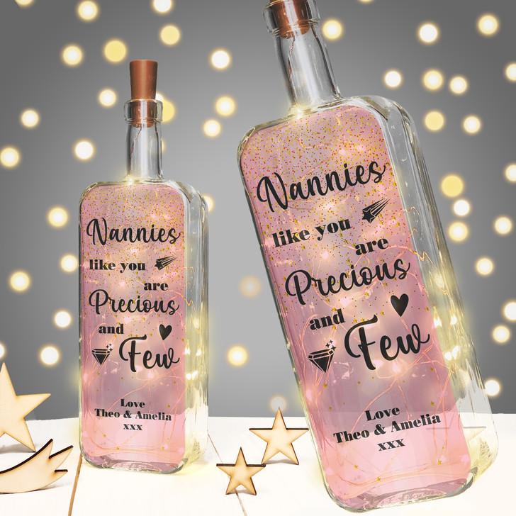Nannies Like You Are Precious & Few Personalised Light Up Bottle Birthday Gift