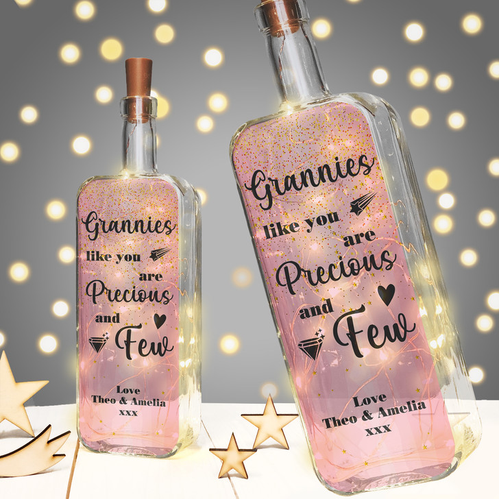Grannies Like You Are Precious & Few Personalised Light Up Bottle Birthday Gift