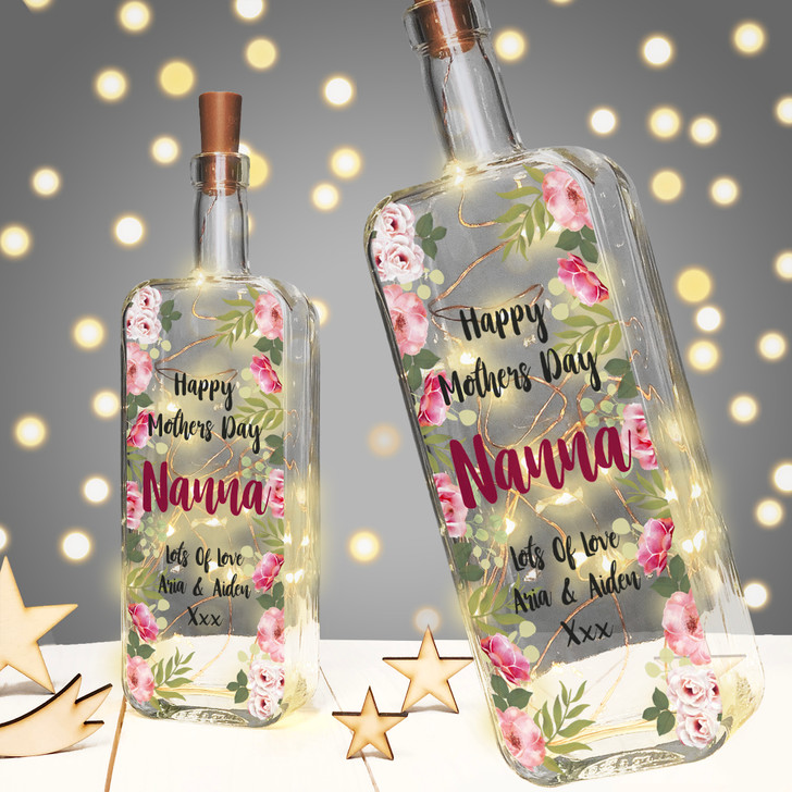 Personalised Light Up Mothers Day Bottle Gift For Mummy, Nanny, Granny