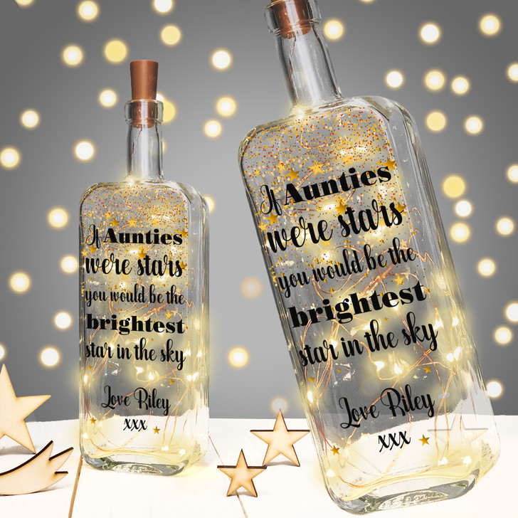 "Personalised Light Up Bottle Birthday Gift For Auntie, Aunty or Aunt ""If Aunties Were Stars You Would Be The Brightest Star In The Sky"""