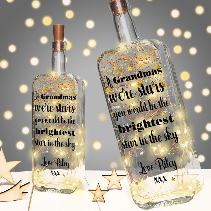 """Personalised Light Up Bottle Birthday Gift For Grandma, Granny, Grandmother  """"If Grandmas Were Stars You Would Be The Brightest Star In The Sky"""""""